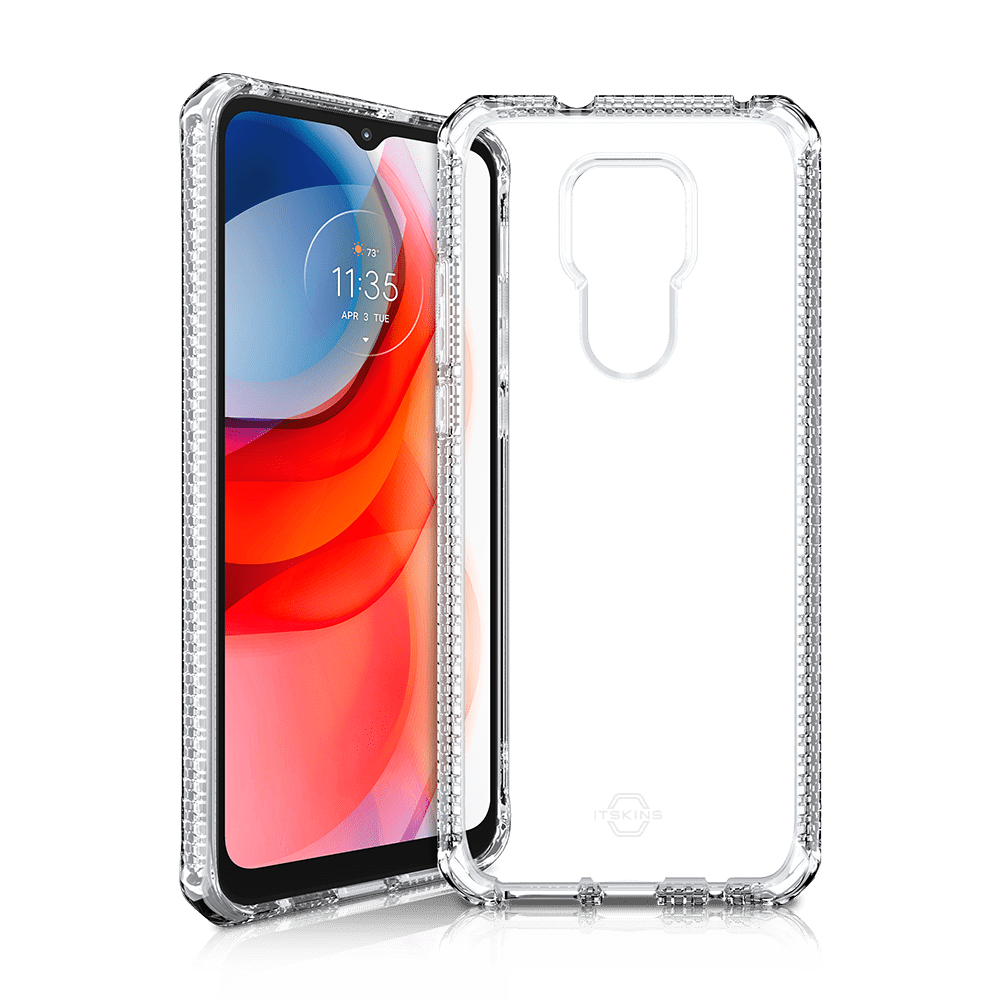 itskins spectrum clear antimicrobial case for moto g play (2021)-clear