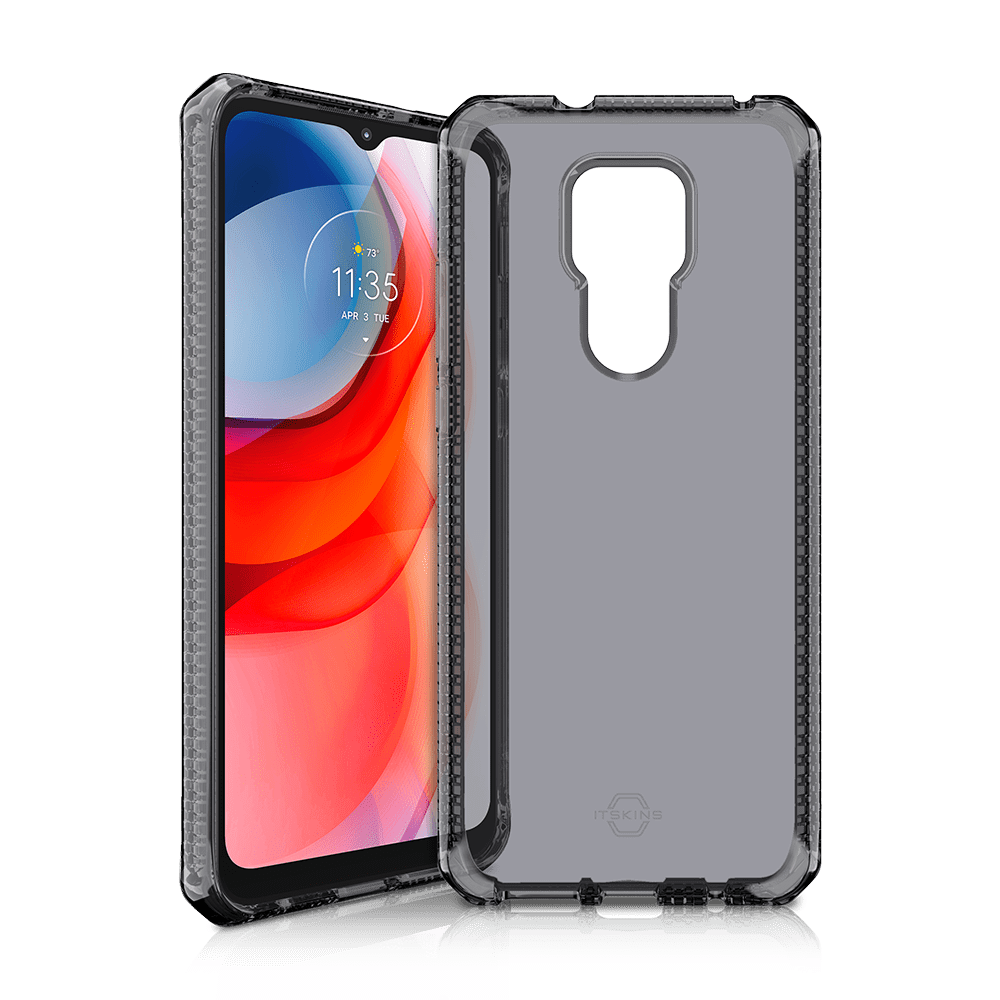 itskins spectrum clear antimicrobial case for moto g play (2021)-smoke