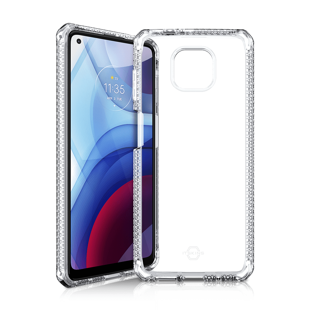 itskins spectrum clear antimicrobial case for moto g power (2021)-clear