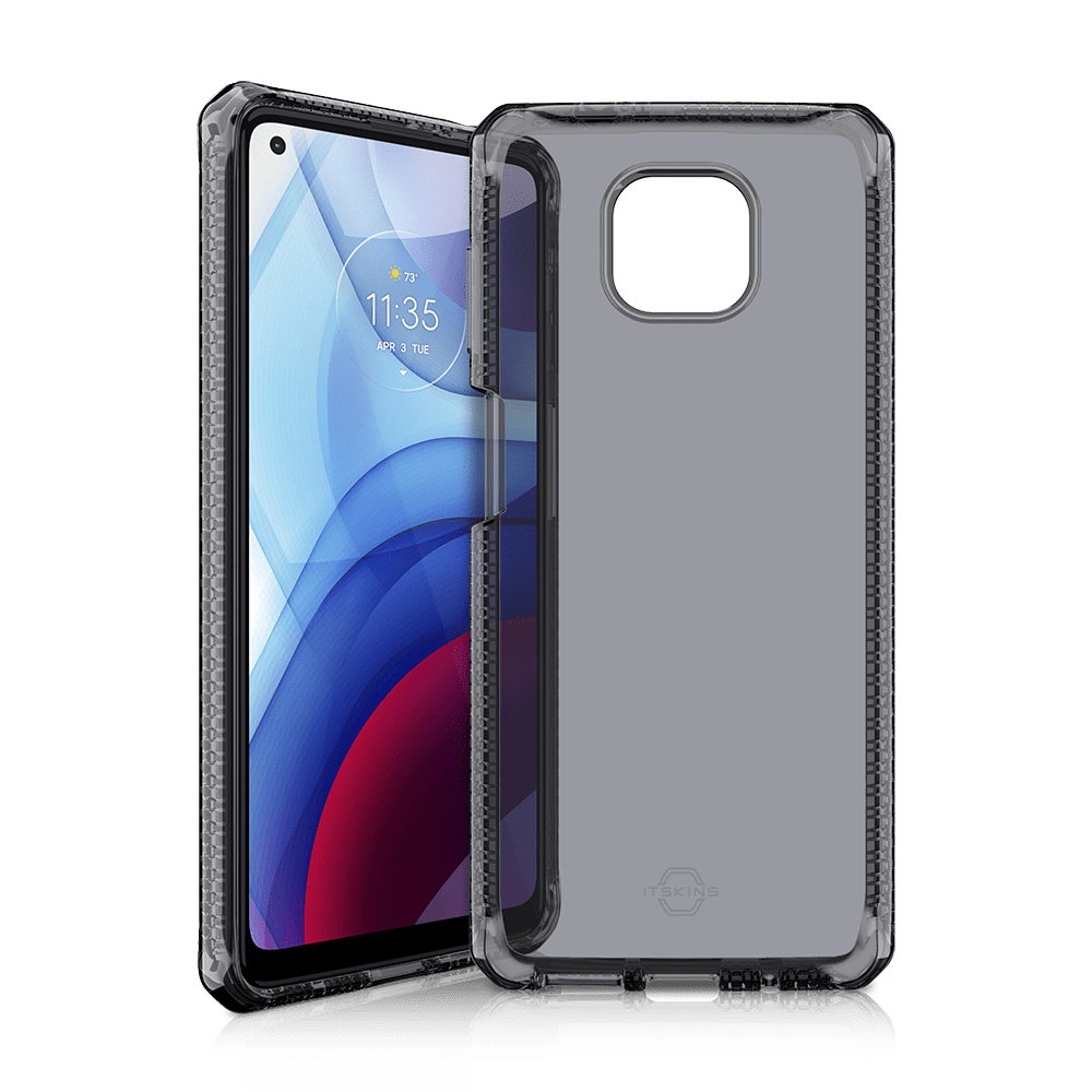 itskins spectrum clear antimicrobial case for moto g power (2021)-smoke