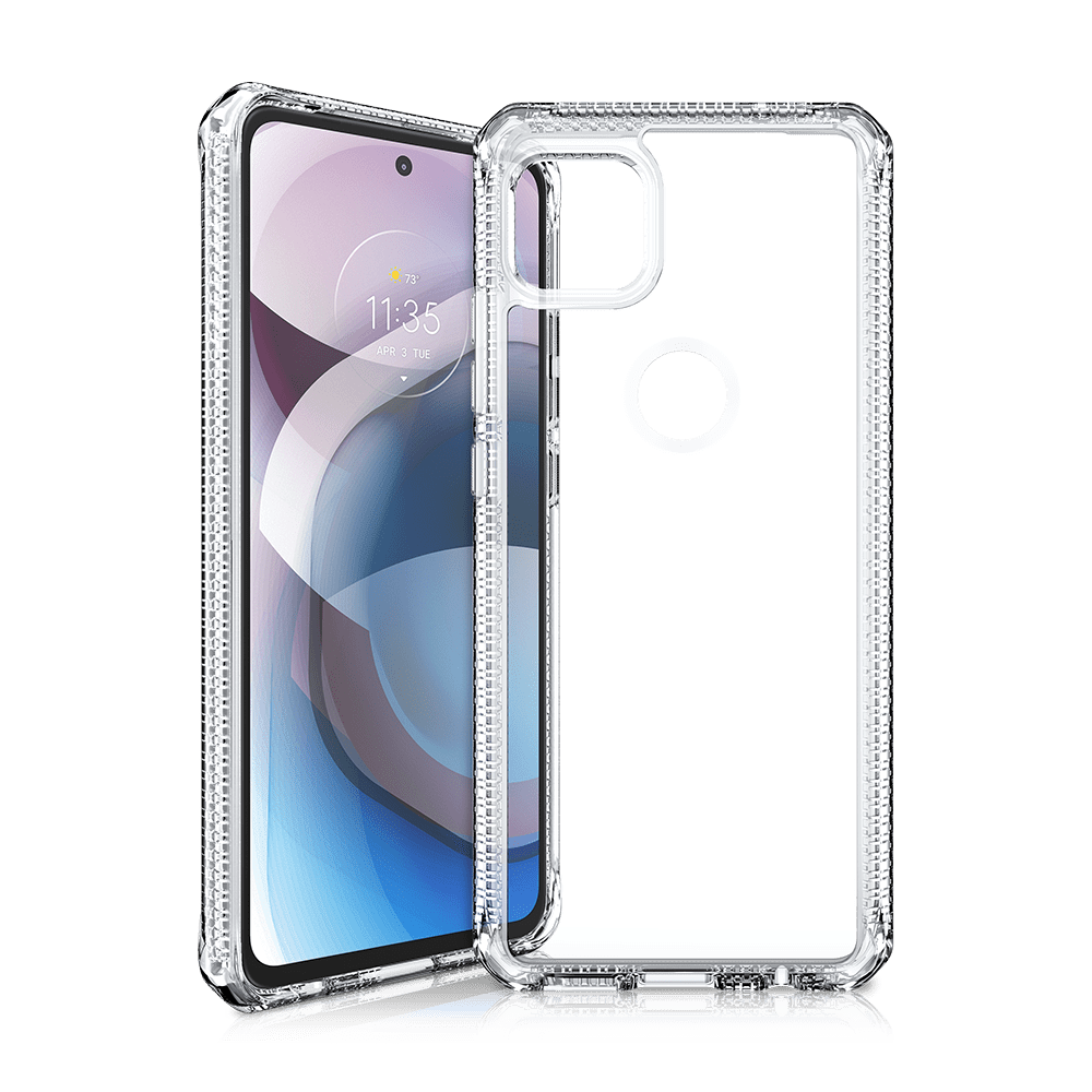 itskins hybrid clear antimicrobial case for motorola one 5g ace-clear