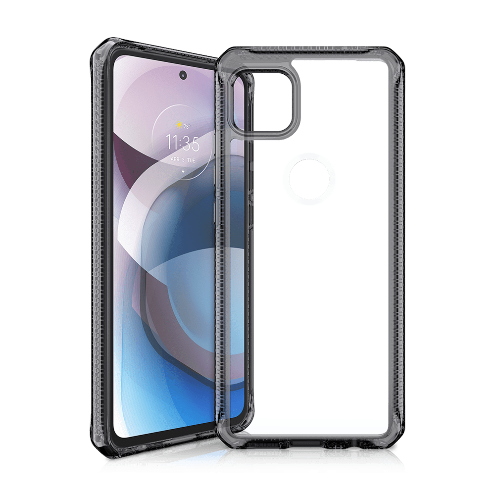 itskins hybrid clear antimicrobial case for motorola one 5g ace-smoke and clear
