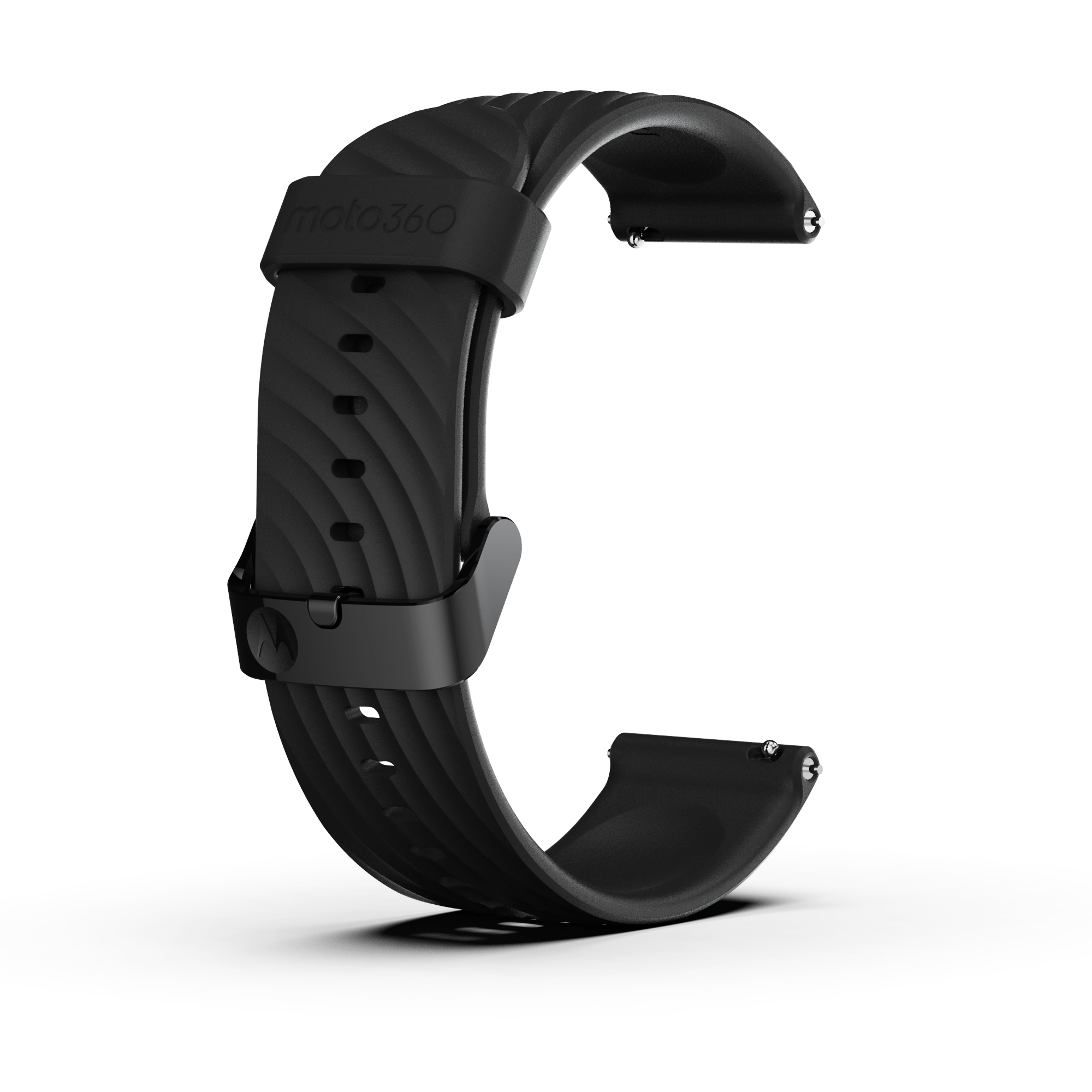 Moto360 High-Impact Silicone Band - Black with Black Buckle