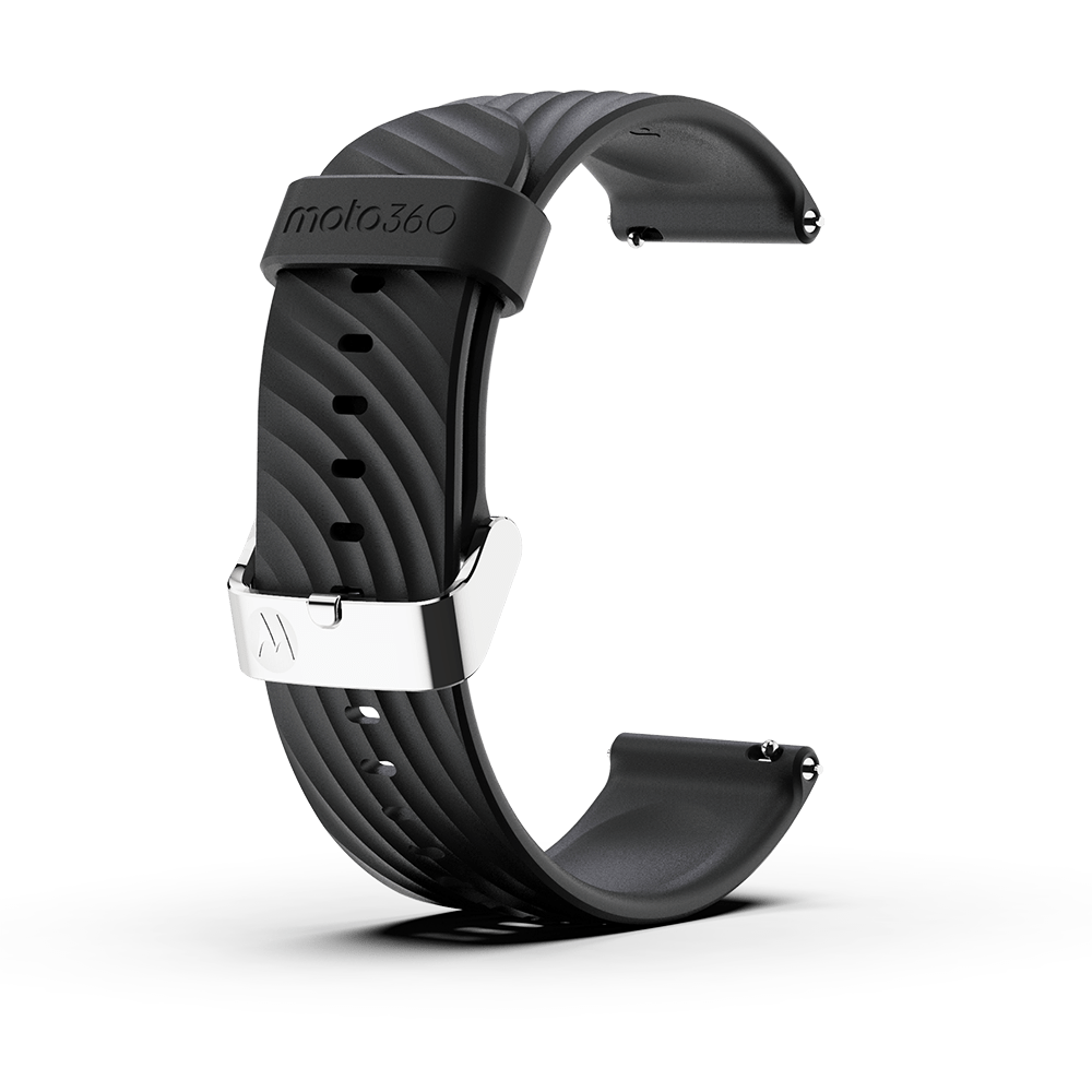 Moto360 High-Impact Silicone Band - Black with Silver Buckle
