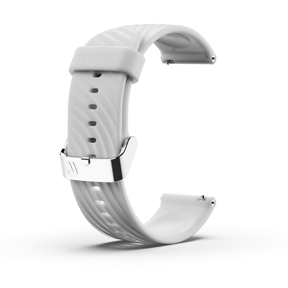 Moto360 High-Impact Silicone Band - White with Silver Buckle