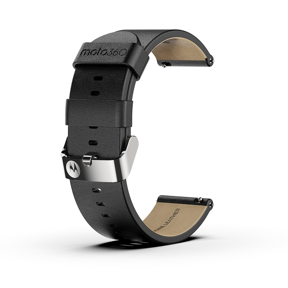 Moto360 Premium Leather Band - Black with Silver Buckle