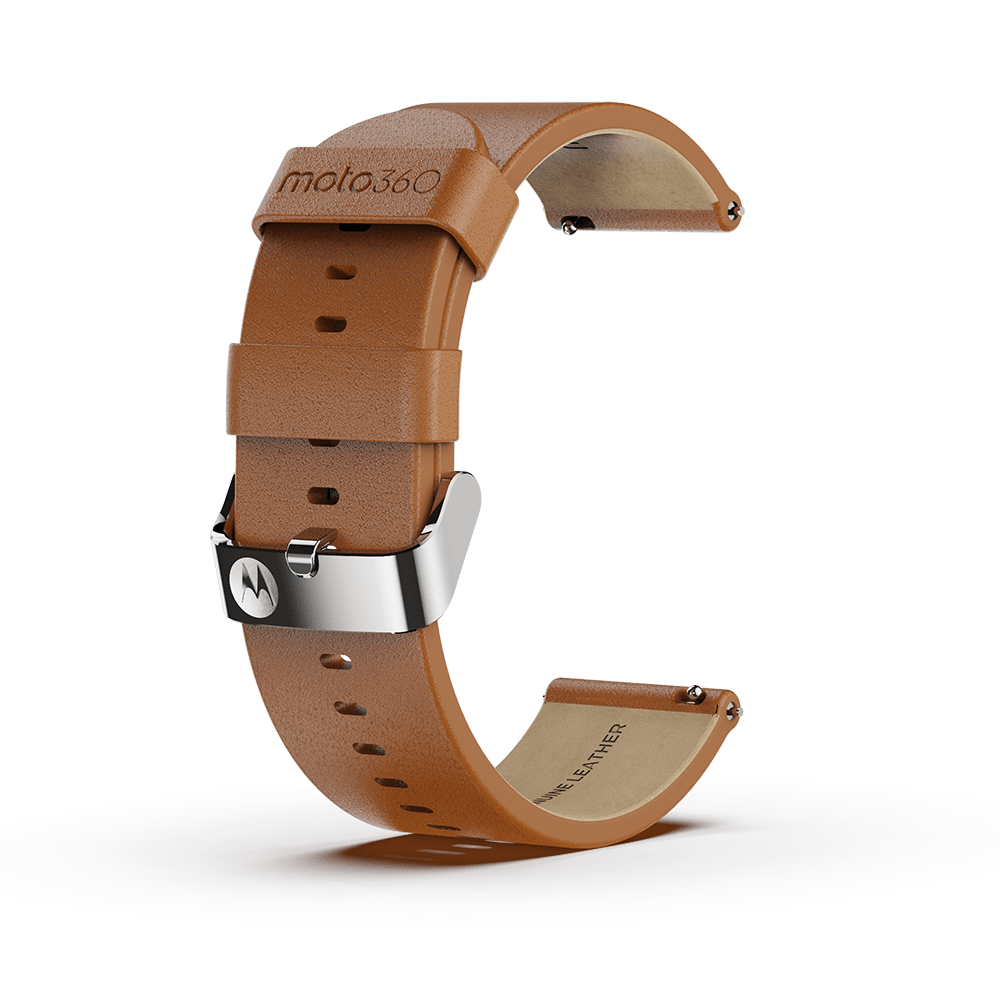Moto360 Premium Leather Band - Cognac with Silver Buckle