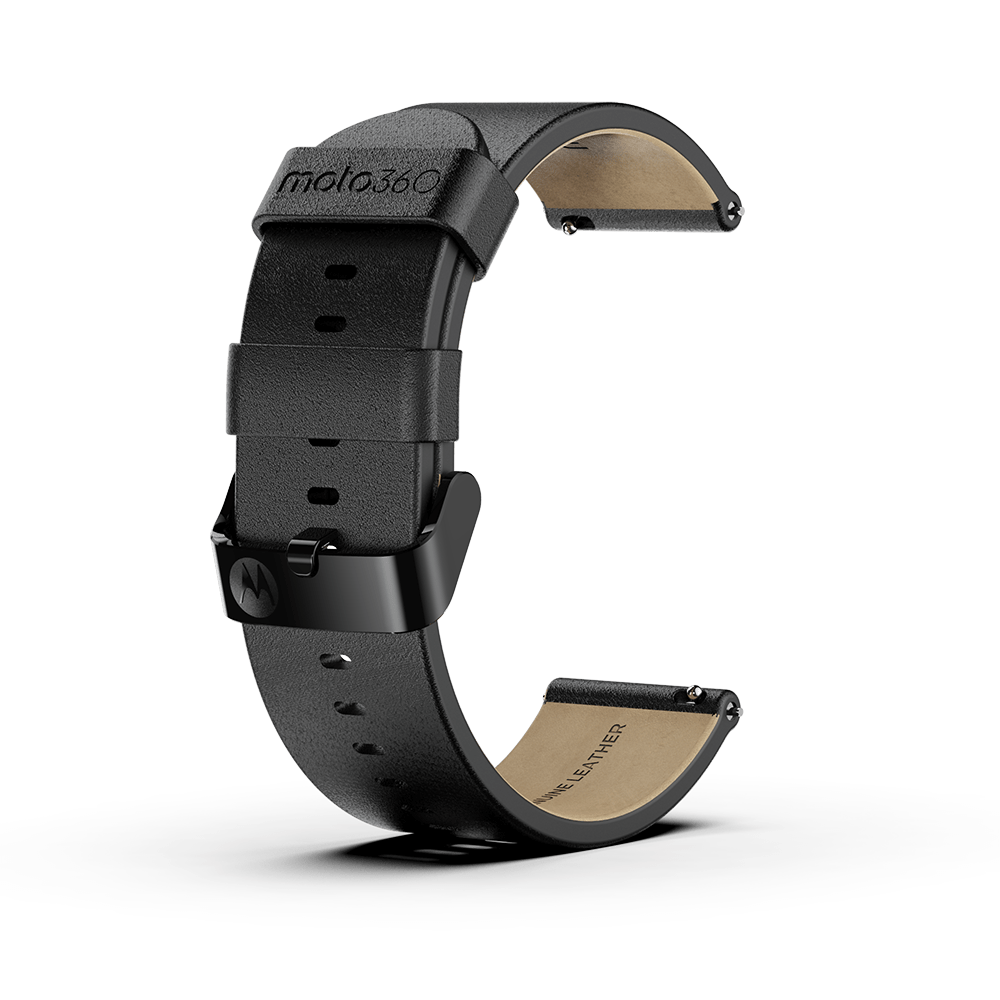 Moto360 Premium Leather Band - Black with Black Buckle
