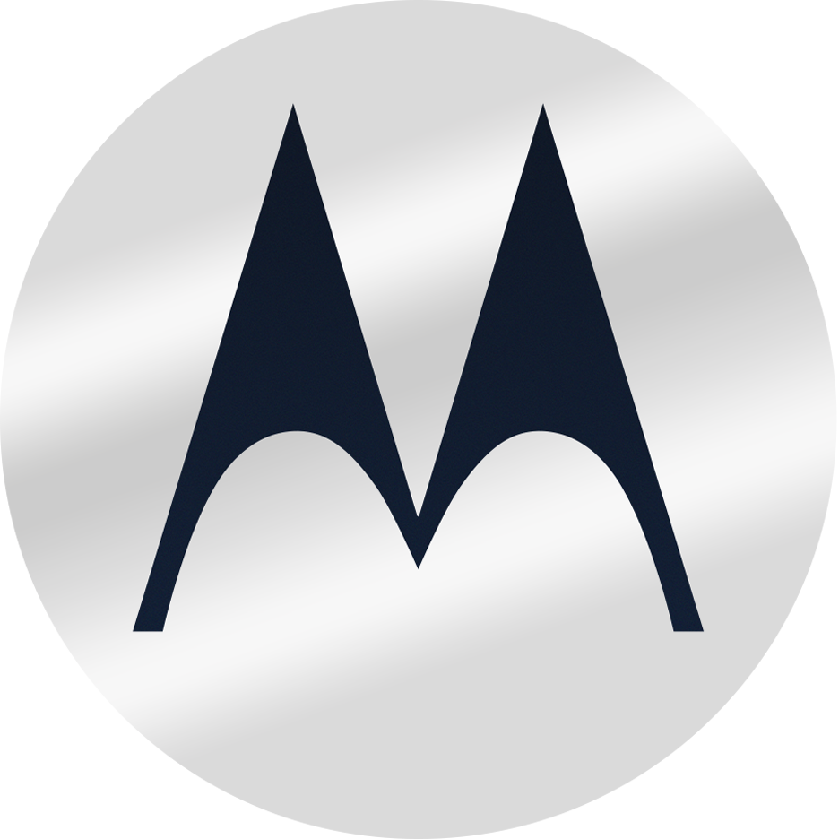 an image of the Motorola batwing logo in silver and dark blue